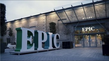 Entrance to EPIC Ireland with large sign