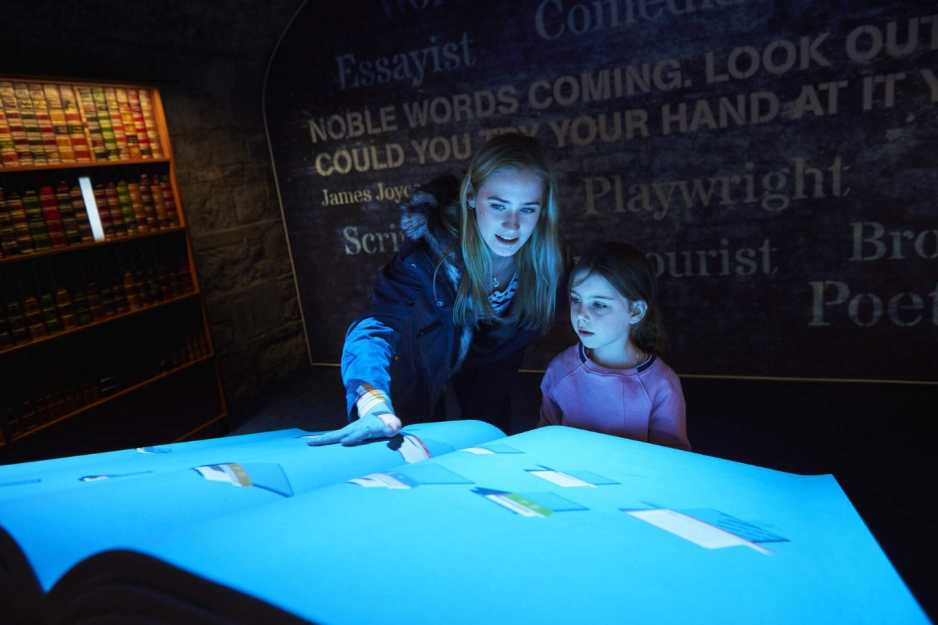 Two people at interactive gallery in epic museum dublin