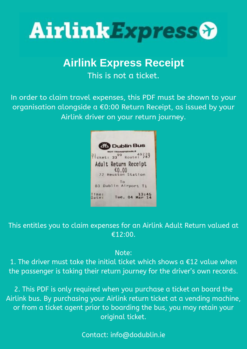 Receipt for Airlink Express Bus