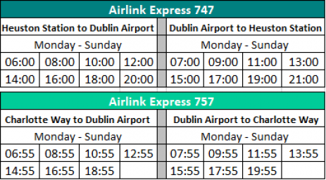 Airlink-reduced-service-timetable