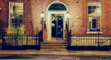 House Dublin Nightclub Georgian Townhouse Entrance in Dublin with Railing Fence and Lamposts