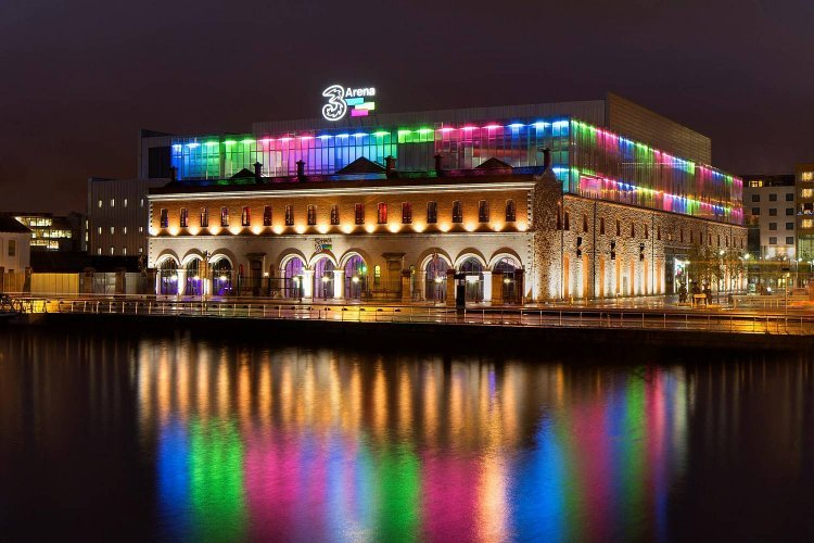 The 3 Arena by the bridge with multicoloured lights