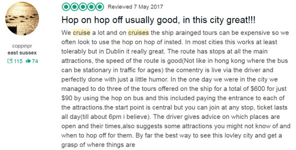 Great Hop on hop off tour Dublin Cruise Shore Excursion Best, hop on hop off in this city great!!!
