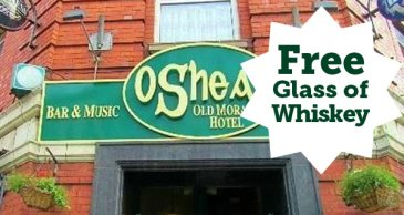 O'Sheas offer free glass of whiskey