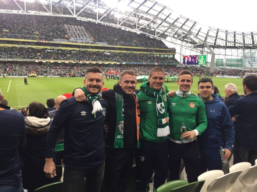 DoDublin's guide/driver Andy with friends at the Aviva Stadium in Dublin