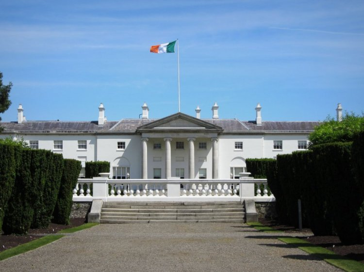 House of Irish President at Phoenix Park with Irish Flag flying.