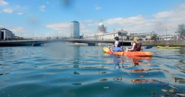 Kayaking on River Liffey on clear day