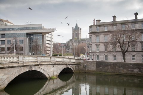 river liffey with civic offices on the left and christ church behind