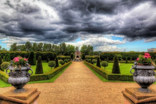 Gardens at Royal Hospital Kilmainham with black clouds in the sky