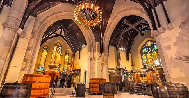 church interior converted to whiskey distillery