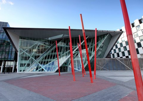 External View of Bord Gais Energy Theatre with Red Poles at Grand Canal Square