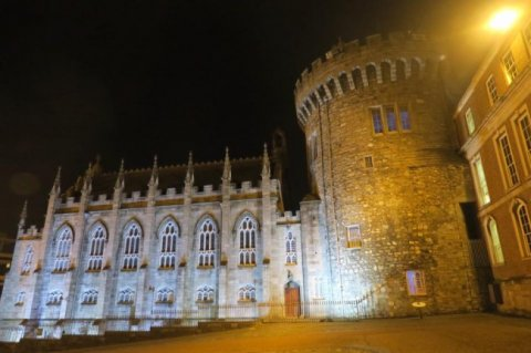 Dublin Castle is lit up in the depth of the night