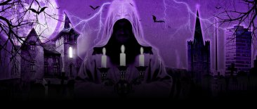 Ghostbus cover image. A silhouette of a ghost holding candles on a purple background.