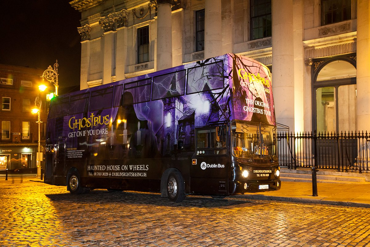 Ghostbus outside city hall