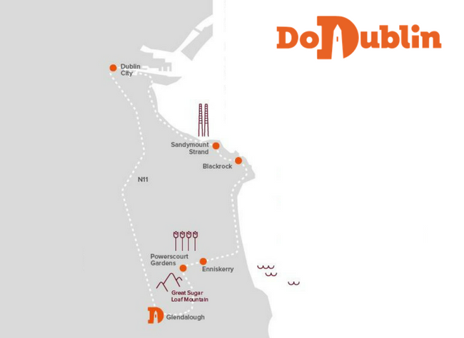 dodublin route around Dublin including, Dublin City, Sandymount Strand, Blackrock, Enniskerry, Powerscourt gardens, Glendalough, Dublin Bay