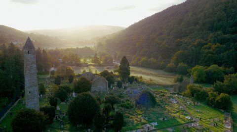 Aerial view of Monastic City at Glendalough