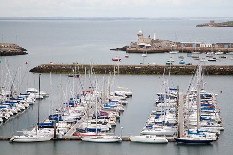Elevated view of Sailing Boats moored at Howth Marina