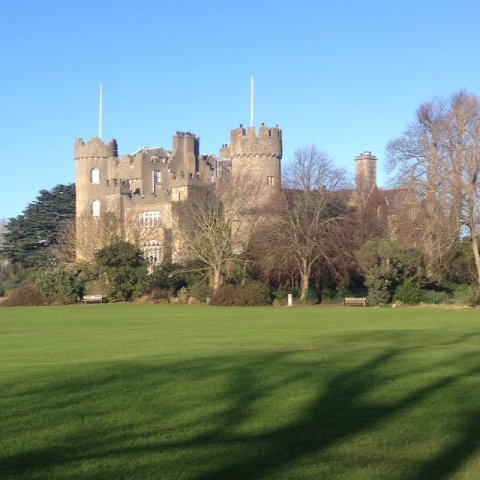 Malahide Castle and Grassy Lawn area in front of castle
