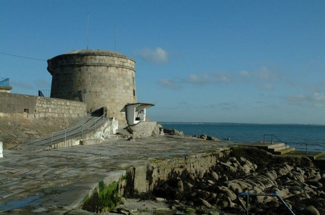 Martello Tower and coastal walkway at Seapoint, South Dublin