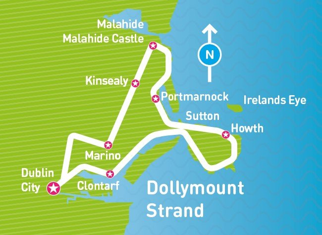 Route showing DoDublin North Coast and Malahide Day Tour, dollymount strand