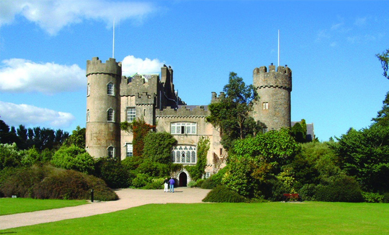 malahide castle front view with blue sky