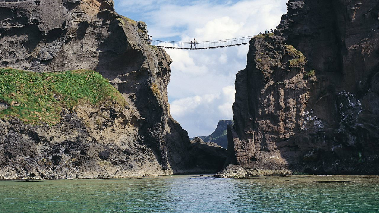 Sea-level view of Carrick a rede rope bridge