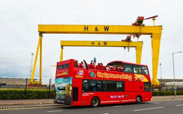 Belfast Hop On Hop Off Bus Tour passing Harland & Wolff