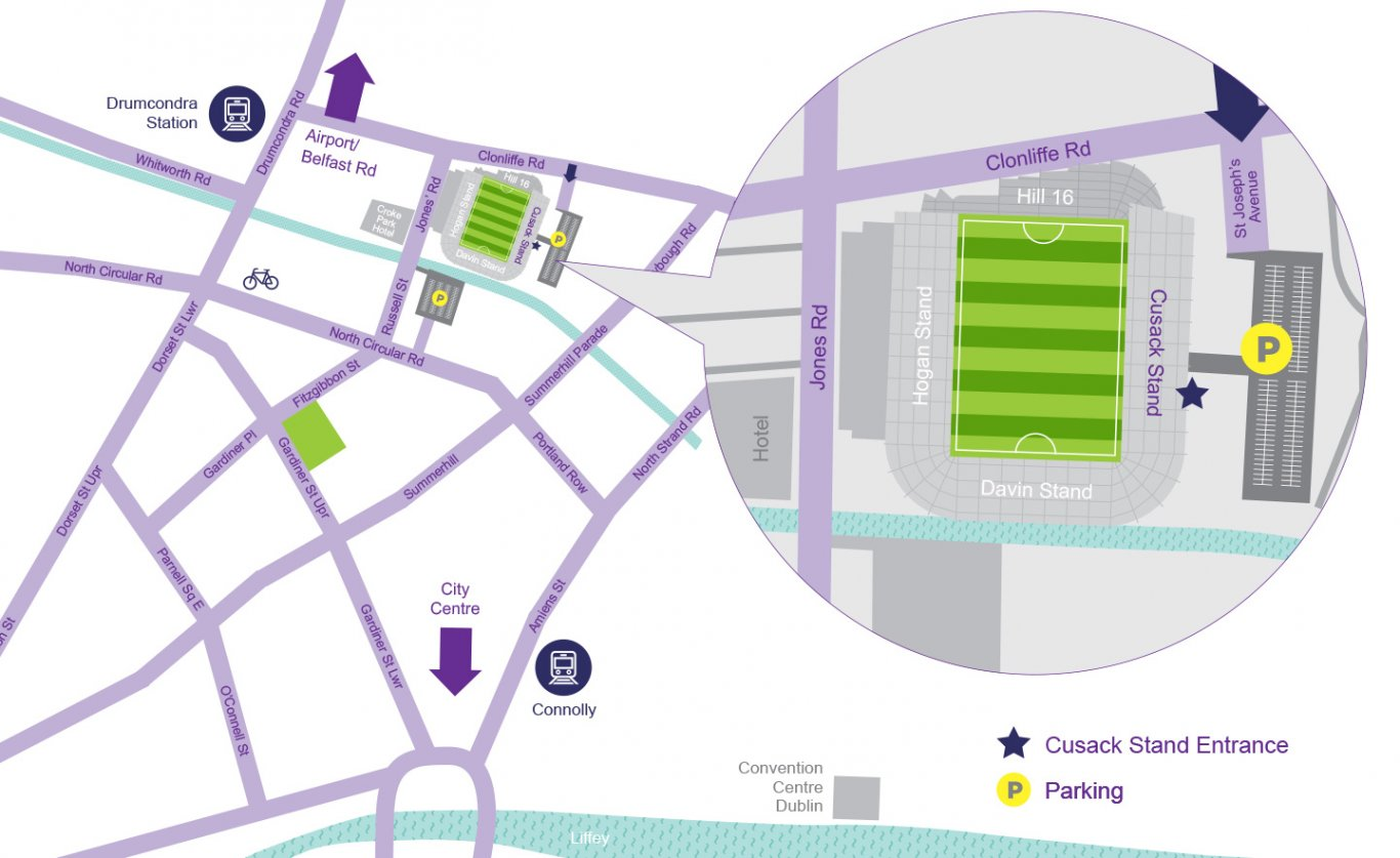Map Showing Entrance to Croke Park Museum