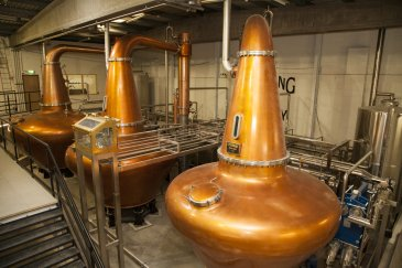 Three pot stills at Teeling Whiskey Distillery