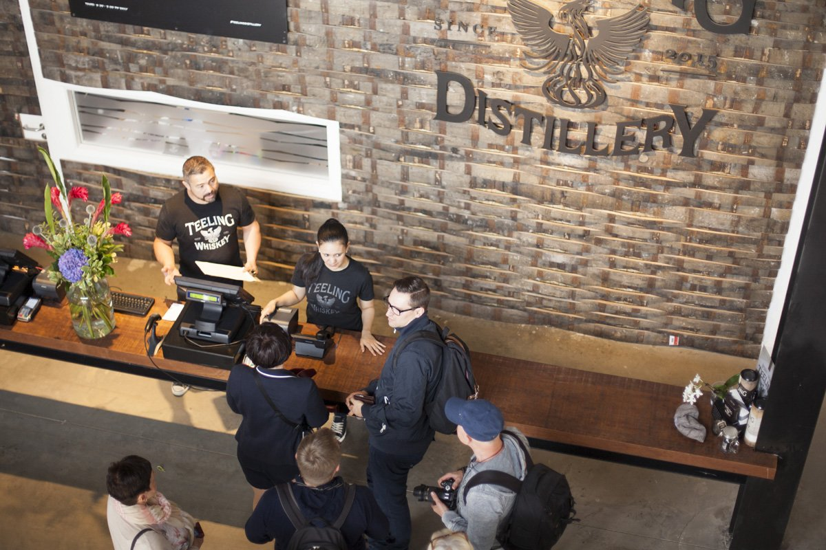 small group Buying ticket for teeling whiskey distillery