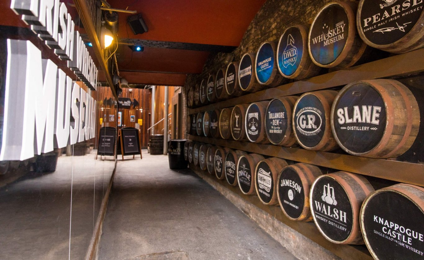 Entrance with Whiskey Barrels of Irish Whiskey Museum