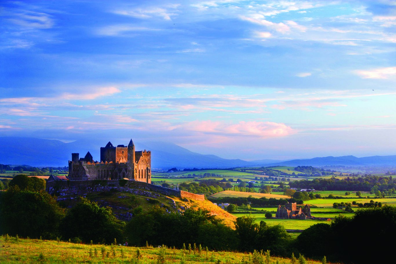 Rock of Cashel with Tipperary mountains in background