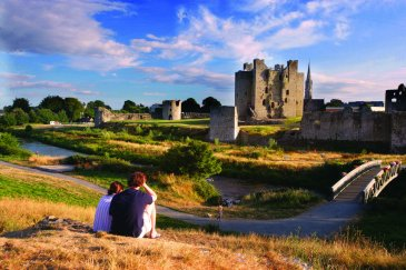 Couple look towards Trim Castle