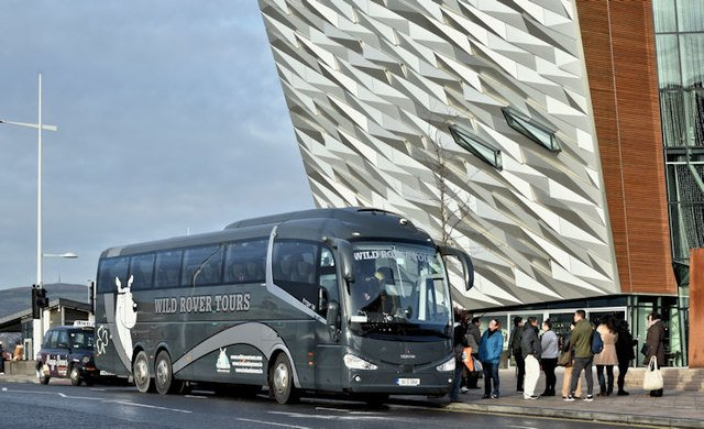 Wild Rover Tour Coach parked at Titanic Centre Belfast