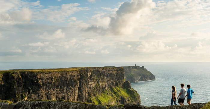Group of friends walking along the cliffs of moher