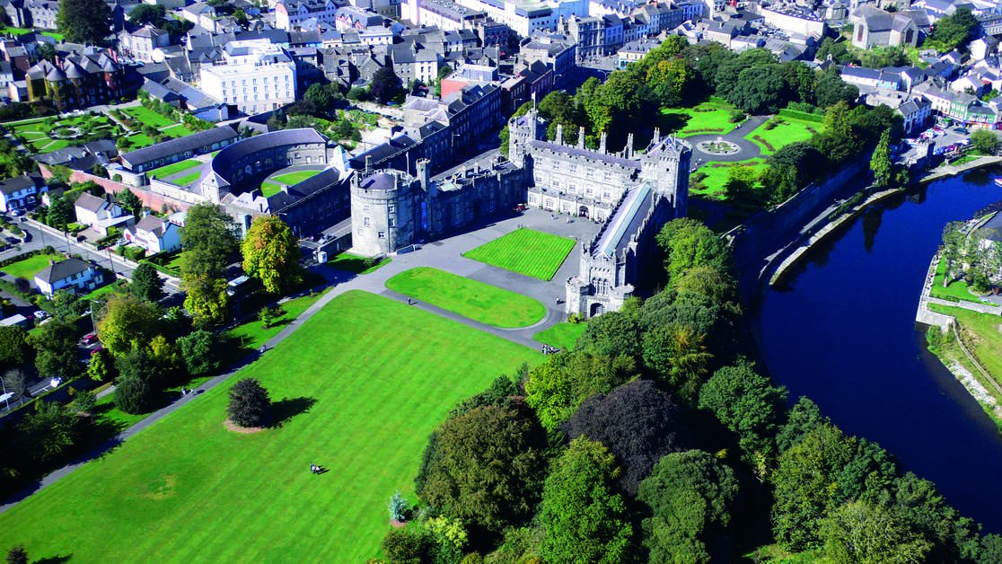 Aerial view of Kilkenny Castle and grounds, kilkenny city, and river nore