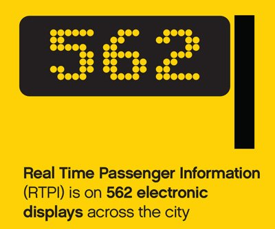 Real Time Passenger Information, real time passenger information (RTPI) is on 562 electronic displays across the city