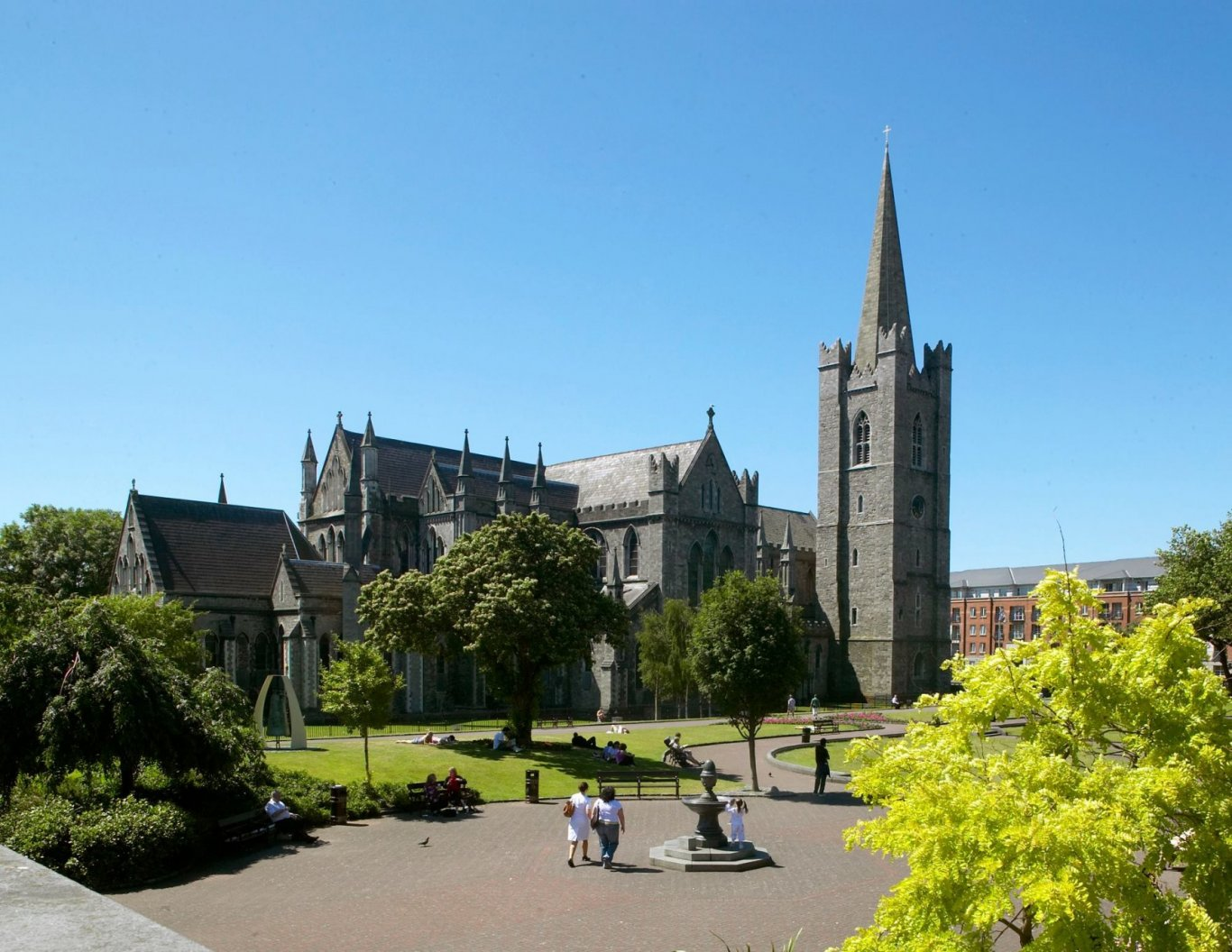 St Patrick's Park with St. Patrick's Cathedral and blue sky in background