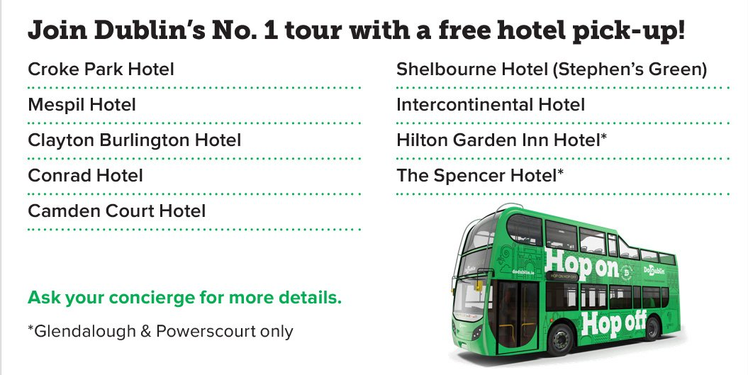 Join Dublin's No.1 tour with a free hotel pick-up