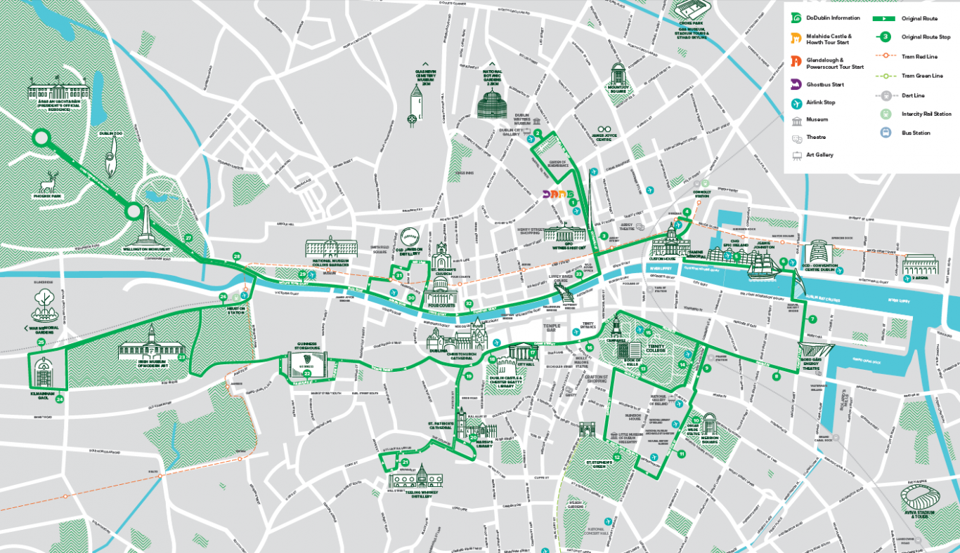 City Map Of Dublin Ireland.Hop On Hop Off Sightseeing Bus Tour Dublin City Book Now